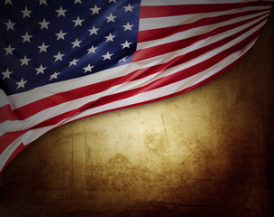 American flag on grungy background