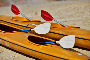 Kayaks and paddles on a beach