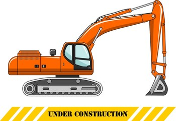 Excavator. Heavy construction machine. Vector illustration