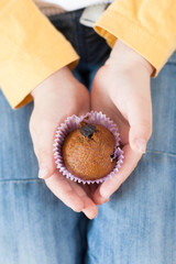 Chocolate muffins with raisins in the hands of a child