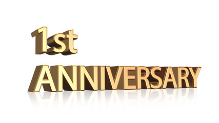 First anniversary symbol in gold letters on white background