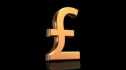 Pound symbol in gold isolated on black background