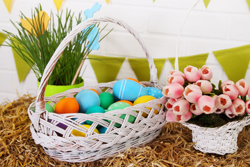 festive basket with eggs