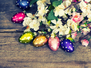 Spring blossoms and easter eggs decoration. Retro style
