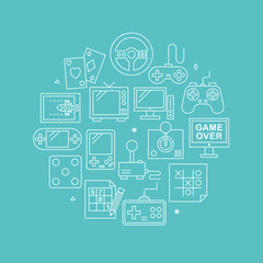 Game line icon circle set