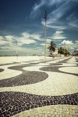 Copacabana Beach with landmark mosaic in Rio de Janeiro