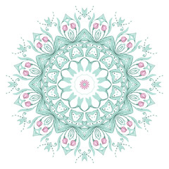 Watercolor mandala on white background