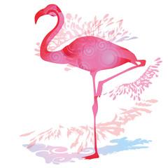 Schattenklecks mit Flamingo