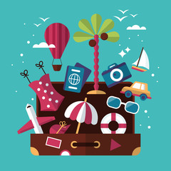 Summer holiday concept with flat modern icons and suitcase