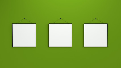 Composition of three black blank photo frames on green wall 3d