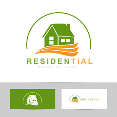 Real estate house green orange logo