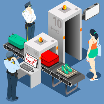 Airport Security Vector Isometric Scanner Police Luggage