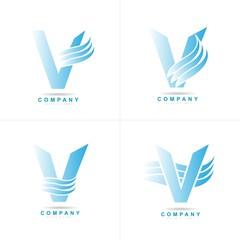 Blue letter V logo corporate set