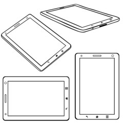 Vector Set of Lineart Tablets PC