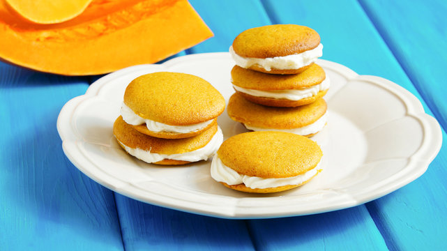 pumpkin whoopie with ricotta cheese cream, selective focus