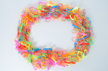 Cycle of colorful hair rubber band.
