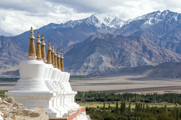 Buddhist stupa and mountains.Shey Palace, Ladakh, India