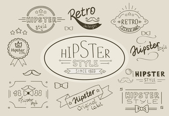 Retro hipster stamps collection