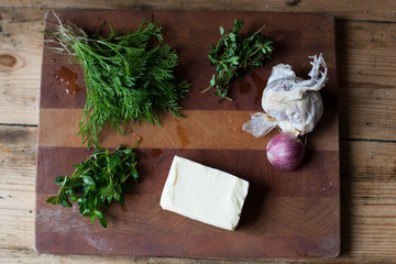 Homemade garlic - herb butter