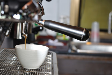 Making fresh coffee via steaming machines,