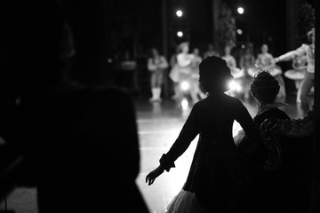 Silhouettes of actors waiting in the wings Fotomurales