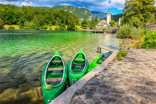 Wonderful alpine lake and colorful boats,Lake Bohinj,Slovenia