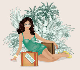Summer travel sexy woman, vector illustration