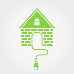 Green house with socket, home electricity icon