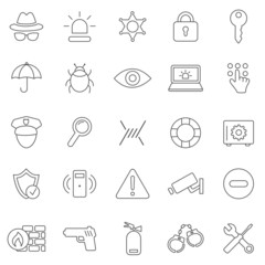 Security line icons set.Vector