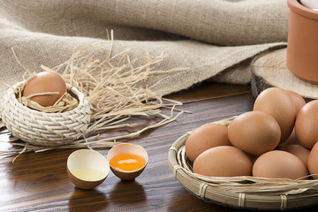Organic Eggs on Table