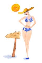 Cute pin up girl. Vector. watercolor