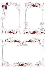 Vintage design elements -- frames for wine