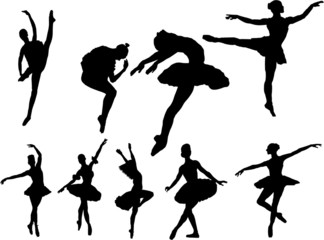 The set of 9 vector ballerina silhouette