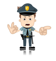 Ben Boy Angry Police Man Officer Cartoon Character