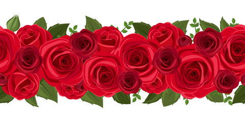 Horizontal seamless background with red roses. Vector.
