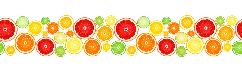 Horizontal seamless background with citrus fruits. Vector. Wall mural