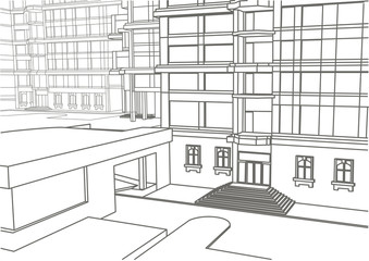 architectural linear sketch of building in few levels