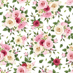 Seamless pattern with red, pink and white roses. Vector
