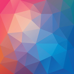 Blue and orange low polygon mosaic background