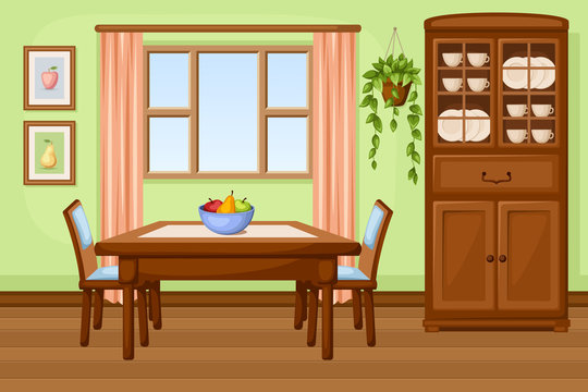 Dining room interior with table and cupboard. Vector.