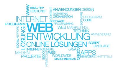 Web Entwicklung Online Lösungen Blau Wort tag cloud illustration