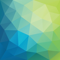 Blue and green low polygon mosaic background, vector design