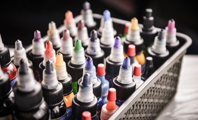 Tattoo  color ink bottles in the box