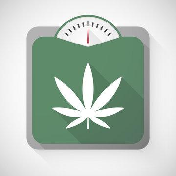 Weight scale with a marijuana leaf