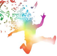 Abstract Man Jumping through Music