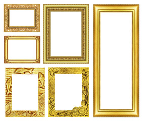 collection golden  frame isolated on white background.