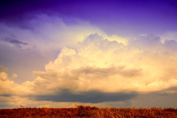 landscape with a bright sky and clouds