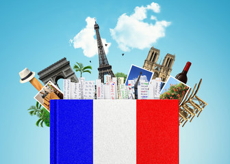 French language, the book with the French flag and bookmarks Wall mural