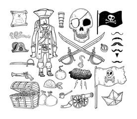 doodle pirate elememts, vector illustration.