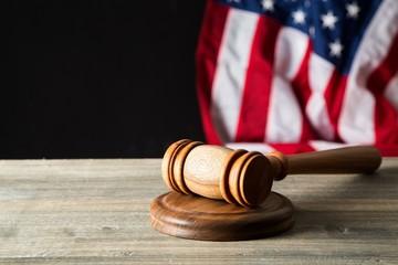 Court. Gavel on court desk
